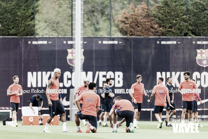 Jordi Alba y Sergi Roberto ya esperan al Manchester City