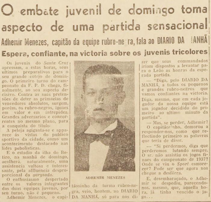 Aos 15 anos, Ademir Menezes concedia entrevista pelo time infantil do Sport
