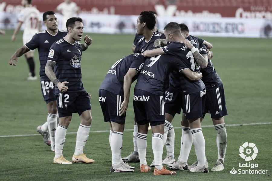 Los jugadores del Celta en el Ramón Sánchez-Pizjuán.   Foto: LaLiga.