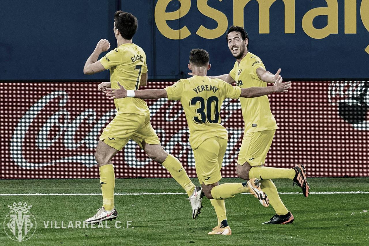 Yeremy, Parejo y Gerard Moreno celebrando el gol ante el Real Madrid | FUENTE: Villarreal CF