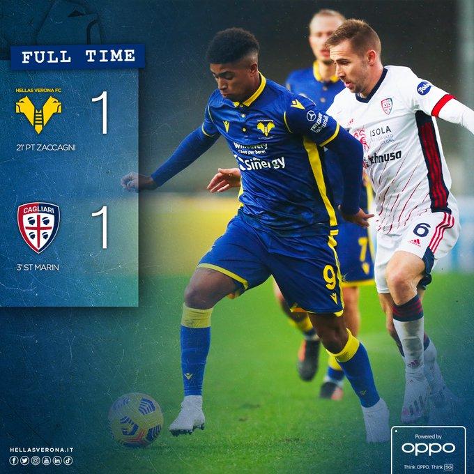 Serie A - Tra Verona e Cagliari finisce 1-1