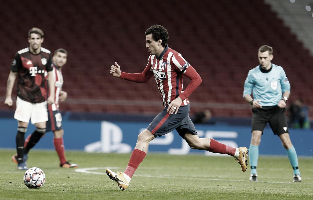 Giménez durante el encuentro contra el Bayern Múnich. / Twitter: Atlético de Madrid oficial