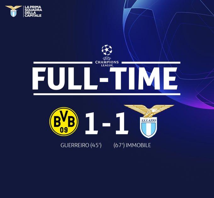 Champions League, un ottima Lazio pareggia in Germania