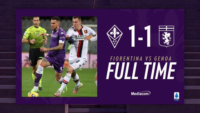 Serie A, finisce in parità il match tra Fiorentina e Genoa