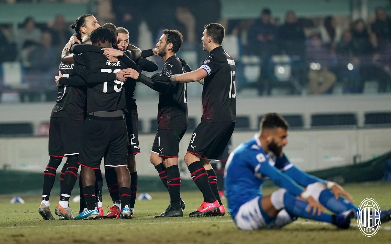 Serie A - Il Milan gioca male ma vince comunque a Brescia: la decide ancora Rebic