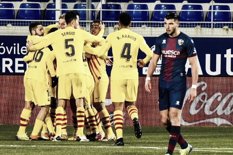 Frenkie de Jong garante vitória do Barcelona contra Huesca e boa sequência em LaLiga