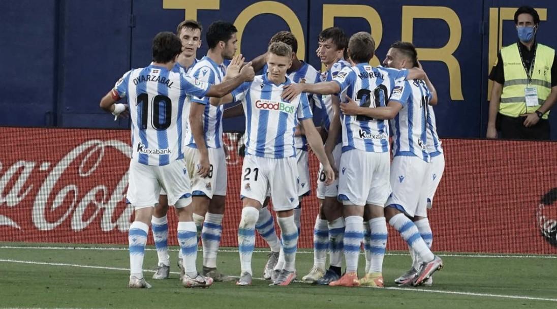 El equipo donostiarra celebra el gol de Willian José ante el Villarreal (Foto: Real Sociedad)