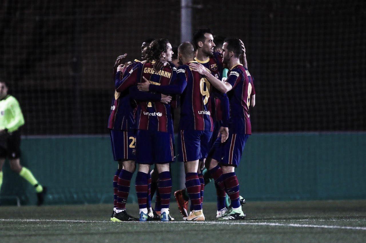 El equipo celebrando uno de los goles. Foto: FC Barcelona.