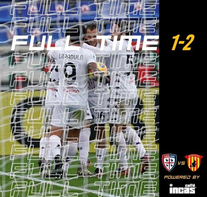 Un 2-1 per un Benevento che fa 21: Cagliari battuto in casa dagli arcigni sanniti