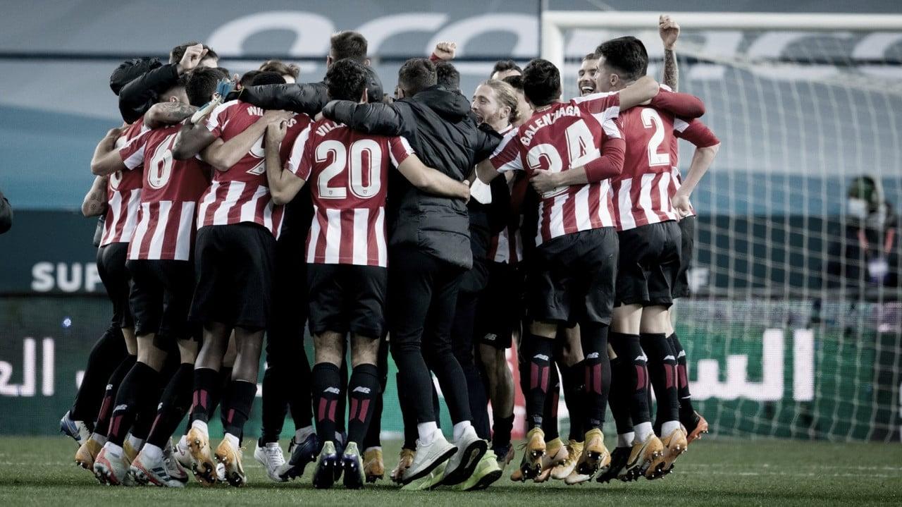 Los jugadores del Athletic celebrando la victoria Fuente: Athletic Club