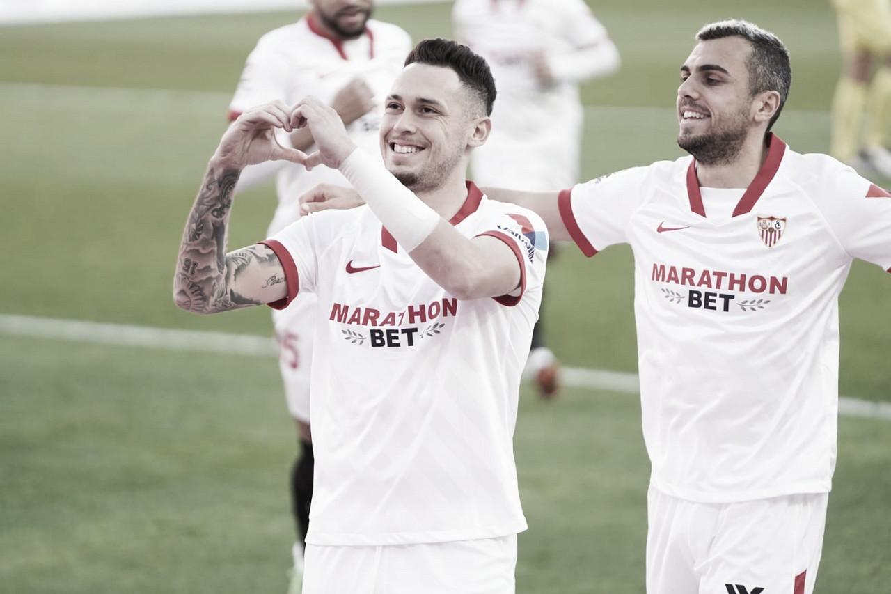 Celebración de Ocampos ante el Leganés | Foto: Sevilla FC