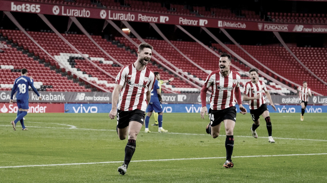 Yeray celebrando su primer gol con el athletic junto a Dani Garcia Fuente: Athletic Club