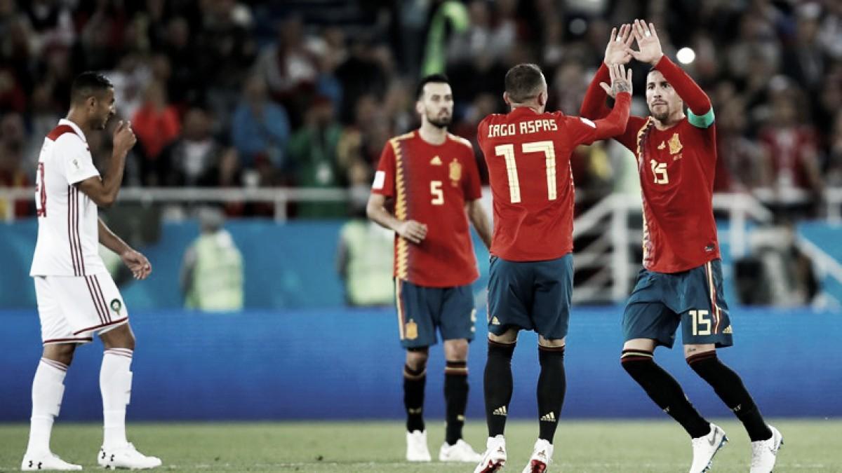 Con sufrimiento, España igualó con Marruecos y avanzó a los octavos de final