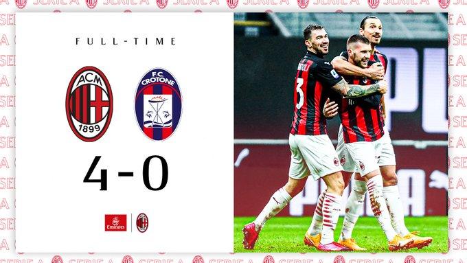 Il Milan stravince contro il Crotone e si riprende la vetta della classifica