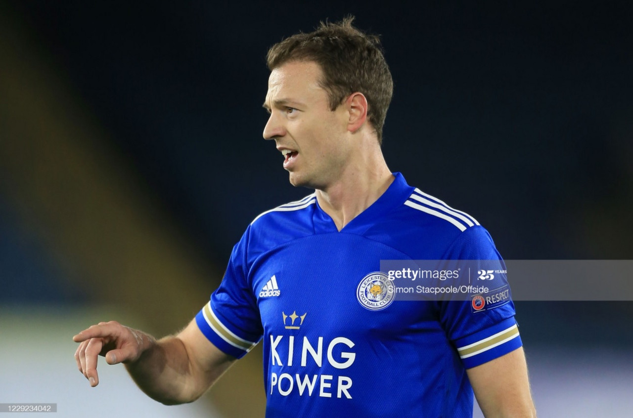 Jonny Evans during Leicester City's Europa League match against Zorya Luhansk | Photo: Getty/ Simon Stacpoole/ Offside
