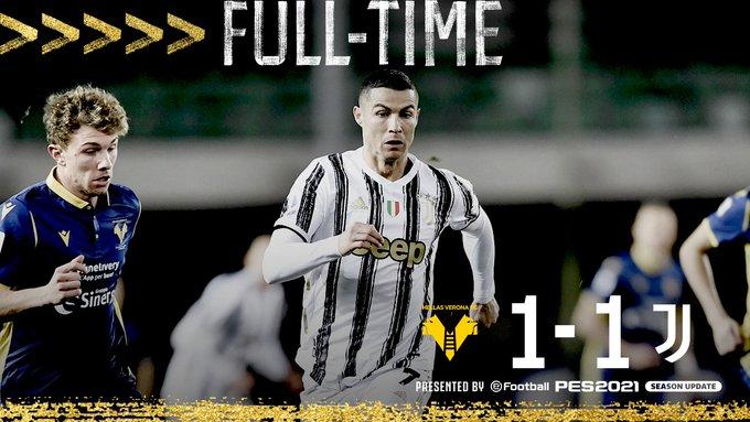 Serie A - Non basta Ronaldo: la Juventus frena a Verona (1-1)