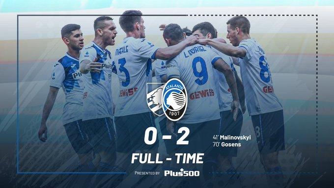 L'Atalanta vince contro la Sampdoria ed aggancia la Juve al 3° posto