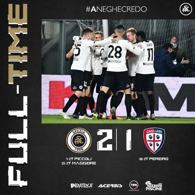 Partita pazza al Picco: lo Spezia batte il Cagliari per 2-1