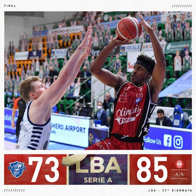 LBA - Milano scappa via nel finale: battuta Sassari per 85-73