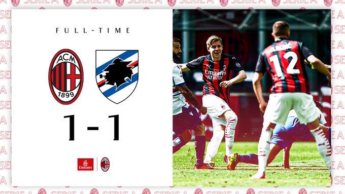 Serie A - Il Milan inciampa contro la Sampdoria (1-1)
