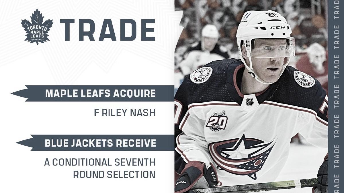 Riley Nash con destino a los Toronto Maple Leafs