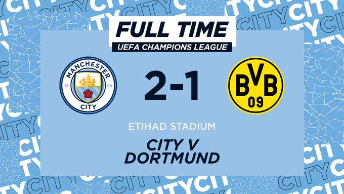 Champions League - Il City batte il Dortmund per 2-1