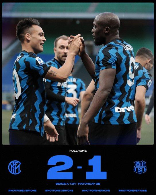 Inter vittoria scudetto: battuto il Sassuolo per 2-1