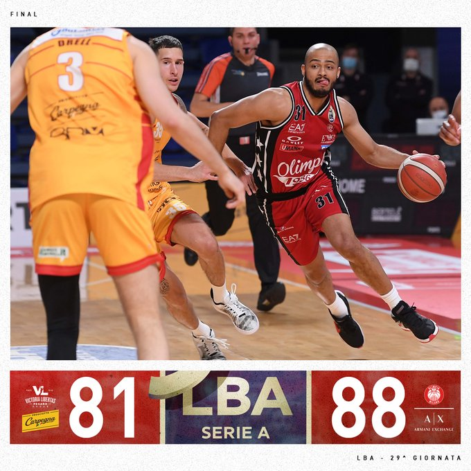 LBA, Milano vince in rimonta contro Pesaro (81-88)