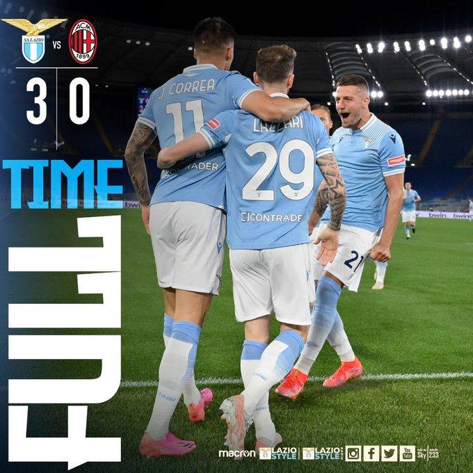 Serie A - Nel segno di Correa la Lazio batte il Milan per 3-0