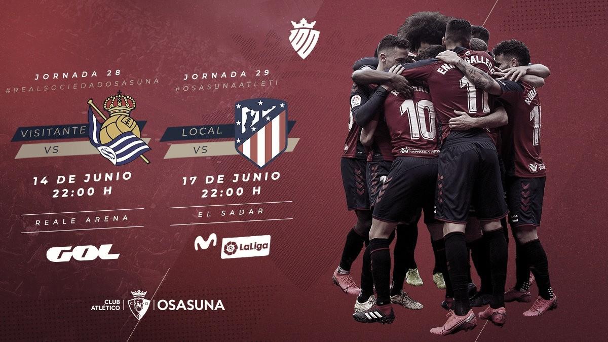 CA Osasuna: confirmados los horarios de las dos primeras jornadas tras el parón