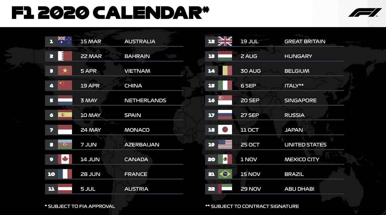 La F1 presentó su calendario 2020