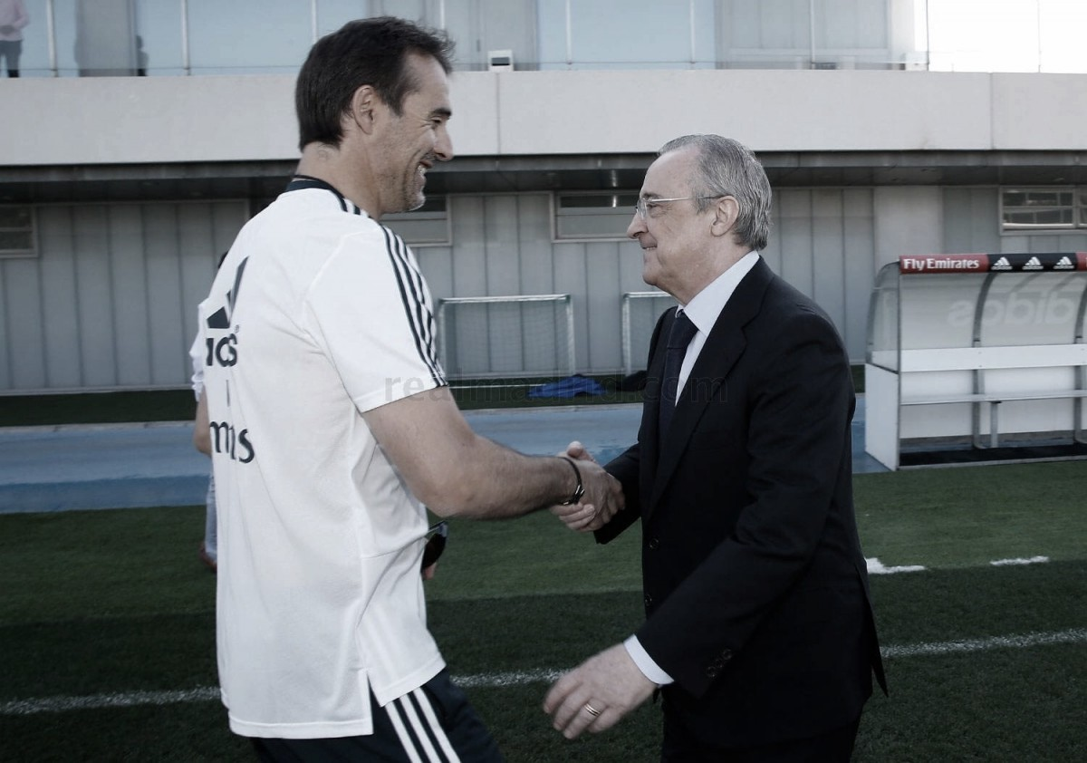 Florentino Perez marca presença no treino do Real Madrid