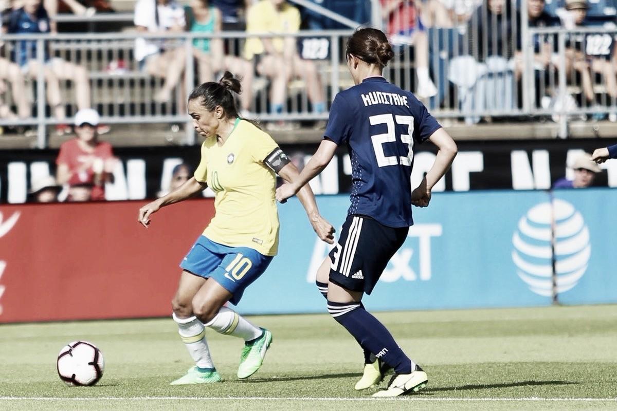 Com gol de Marta, Brasil conquista primeira vitória no Torneio das Nações