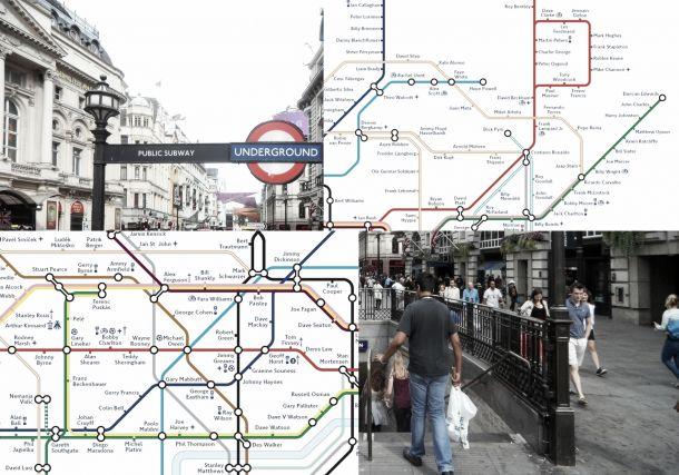 Mapa del metro conmemorativo de los 150 años del fútbol inglés