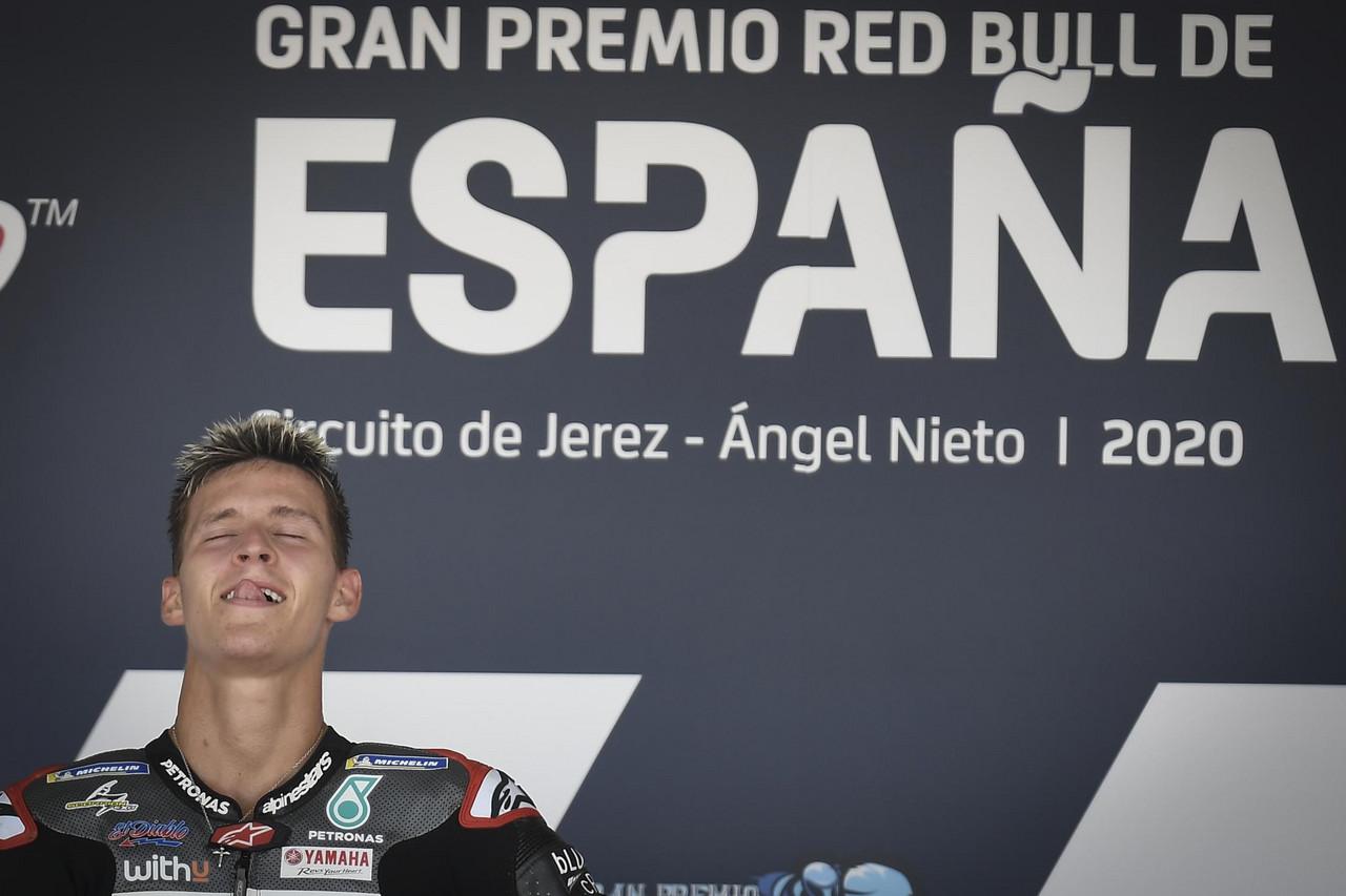 El podio de MotoGP en Jerez, al habla: Quartararo hace su sueño realidad