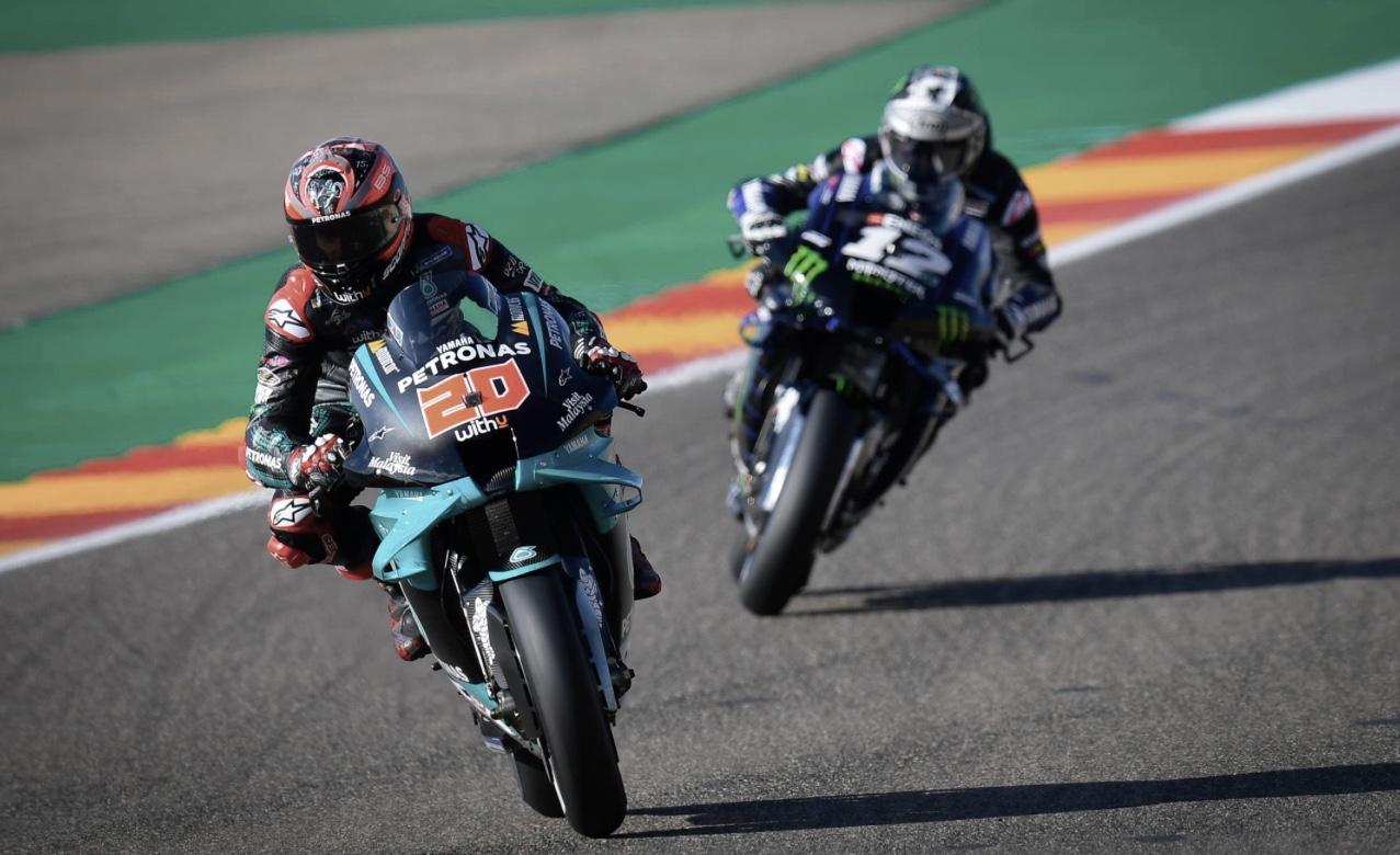 Fabio Quartararo y Maverick Viñales en el GP de Aragón / foto: motogp.com