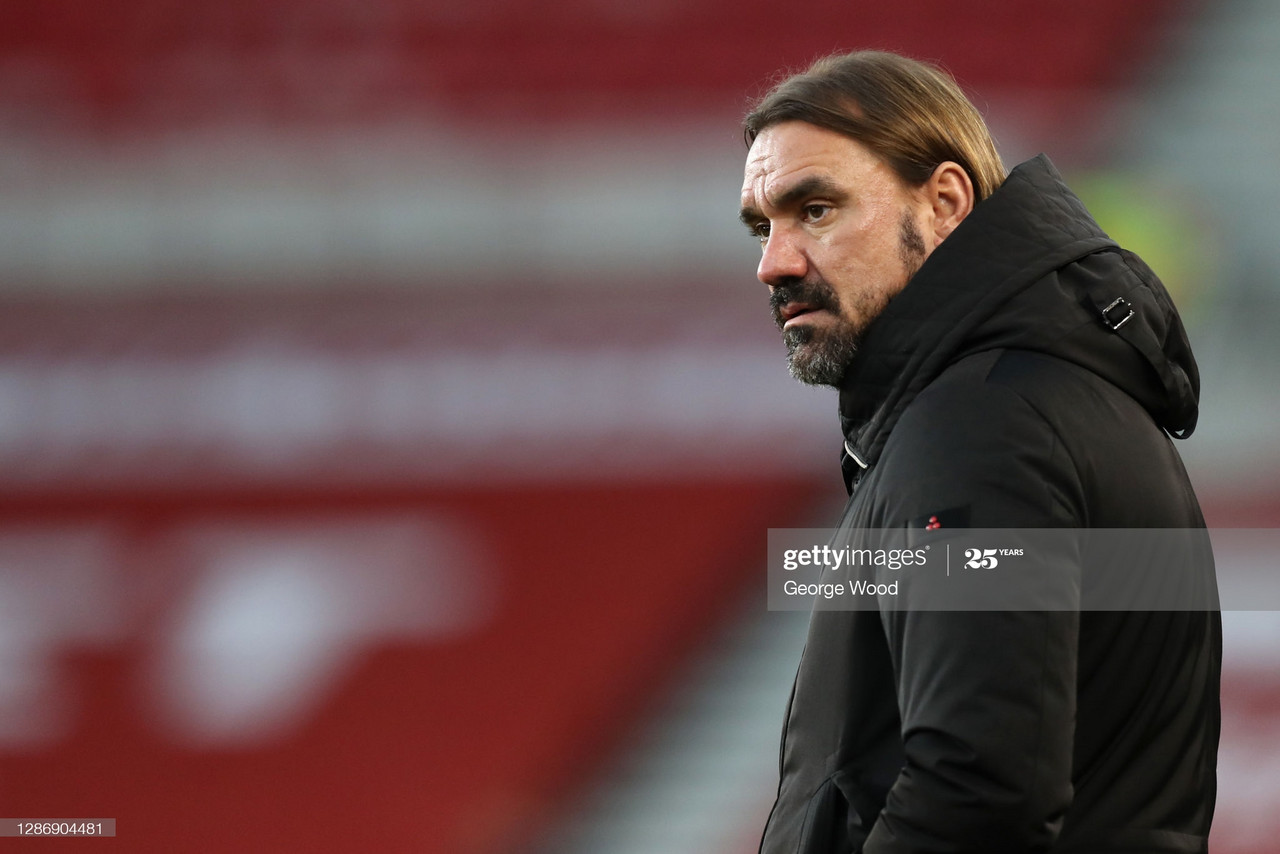 MIDDLESBROUGH, ENGLAND - NOVEMBER 21: Daniel Farke, Manager of Norwich City looks on during the Sky Bet Championship match between Middlesbrough and Norwich City at Riverside Stadium on November 21, 2020 in Middlesbrough, England. Sporting stadiums around the UK remain under strict restrictions due to the Coronavirus Pandemic as Government social distancing laws prohibit fans inside venues resulting in games being played behind closed doors. (Photo by George Wood/Getty Images)
