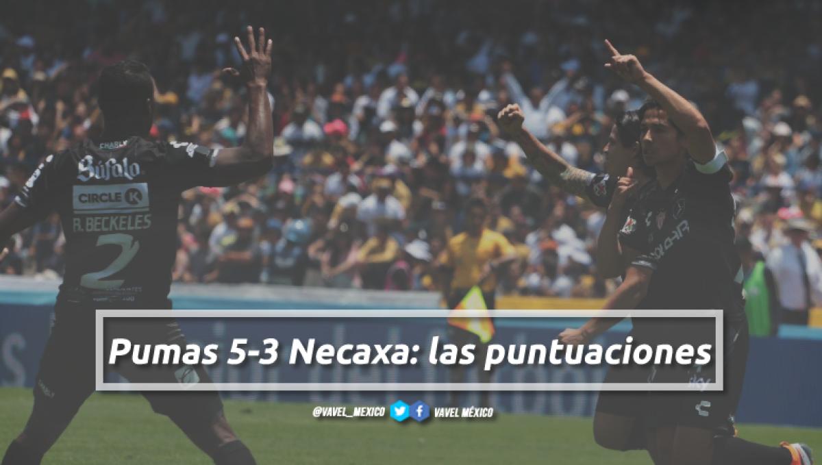 Pumas 5-3 Necaxa: puntuaciones de Necaxa en la jornada 2 de la Liga MX Apertura 2018