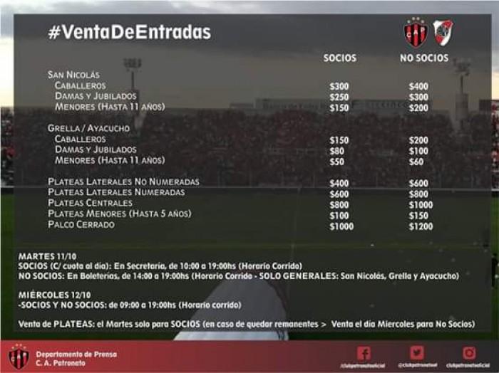 Venta de entradas: Patronato-River Plate
