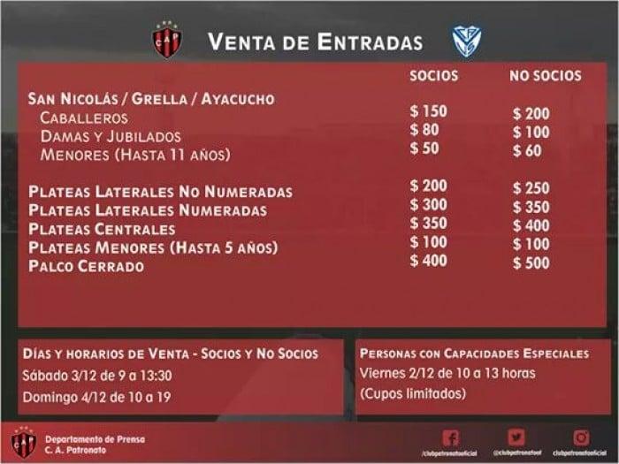 Venta de entradas Patronato-Vélez Sarsfield