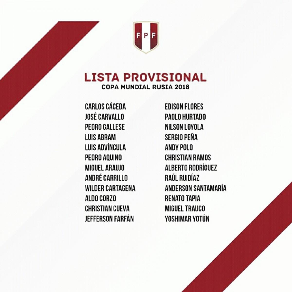 Sem Guerrero, com Cueva: Peru divulga lista de 24 pré- convocados para Copa do Mundo