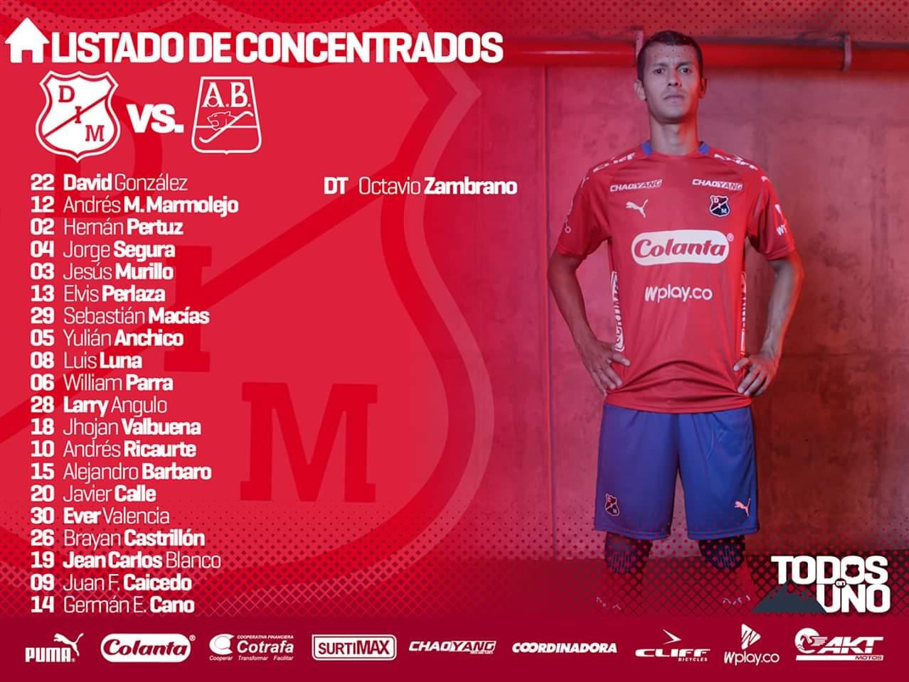 Convocados del Independiente Medellín para recibir al Bucaramanga