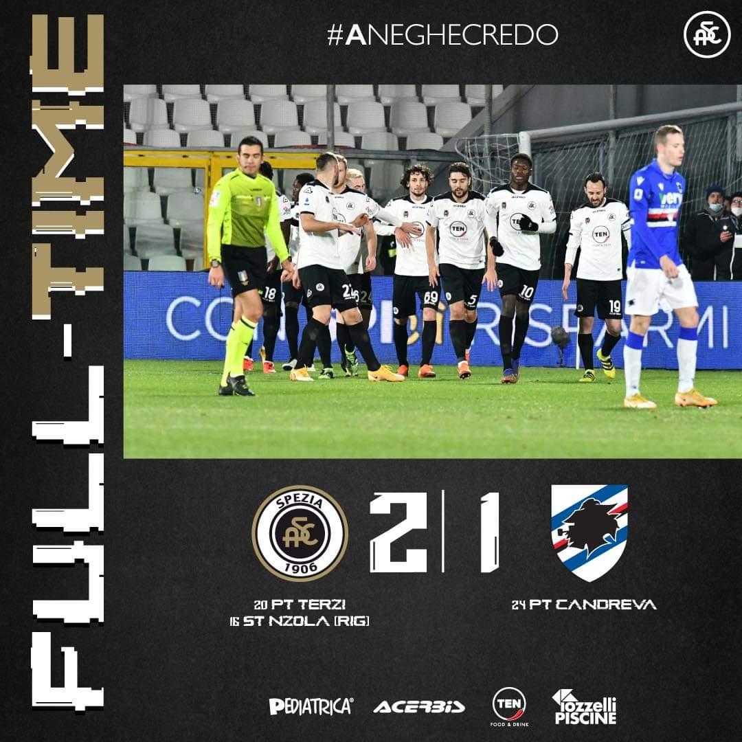 Serie A, al Picco lo Spezia batte la Sampdoria