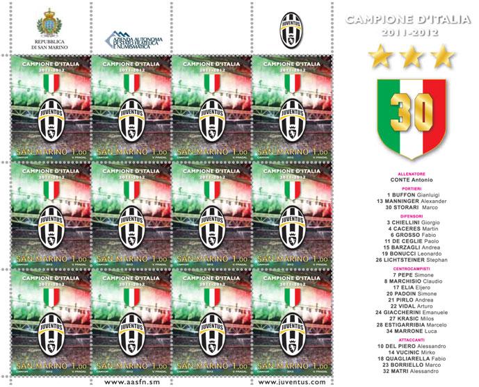 Un francobollo speciale per lo scudetto della Juventus