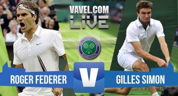 Risultato Federer Vs Simon, quarti di finale Wimbledon 2015  (3-0)