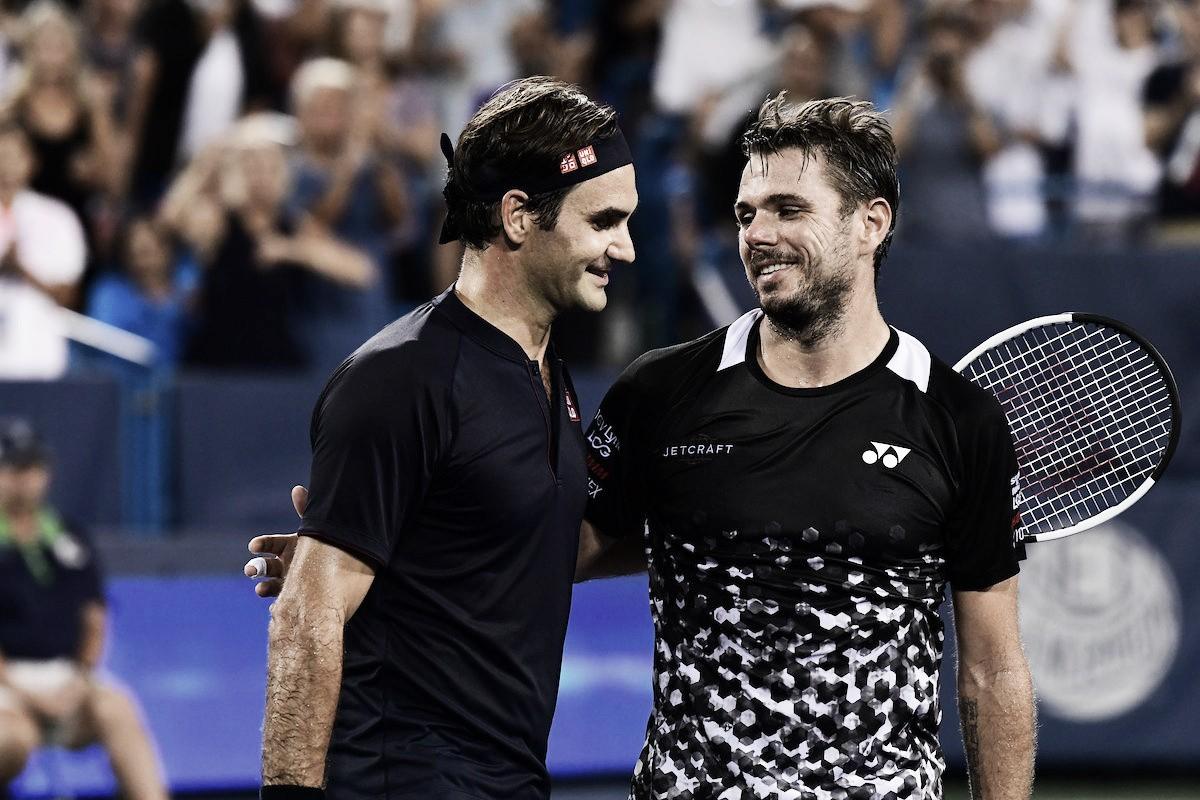 Federer vira partida dramática contra Wawrinka e vence pela segunda vez no dia em Cincinnati