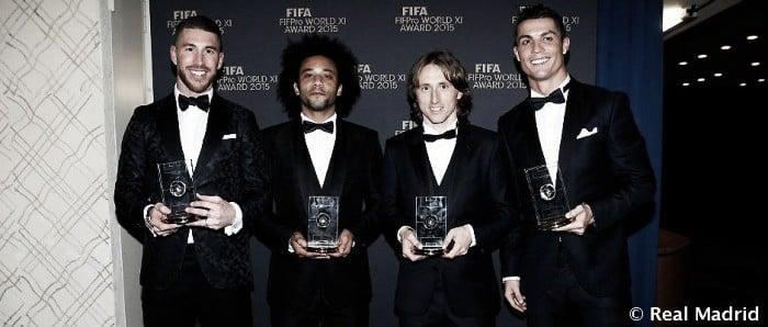 Marcelo, Sergio Ramos, Modric y Cristiano, en el Once Mundial de FIFPro 2015