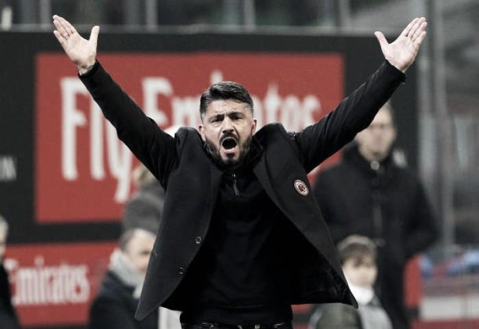 """Gattuso exime jogadores de culpa após nova derrota do Milan: """"Eu que mereço tomar no **"""""""