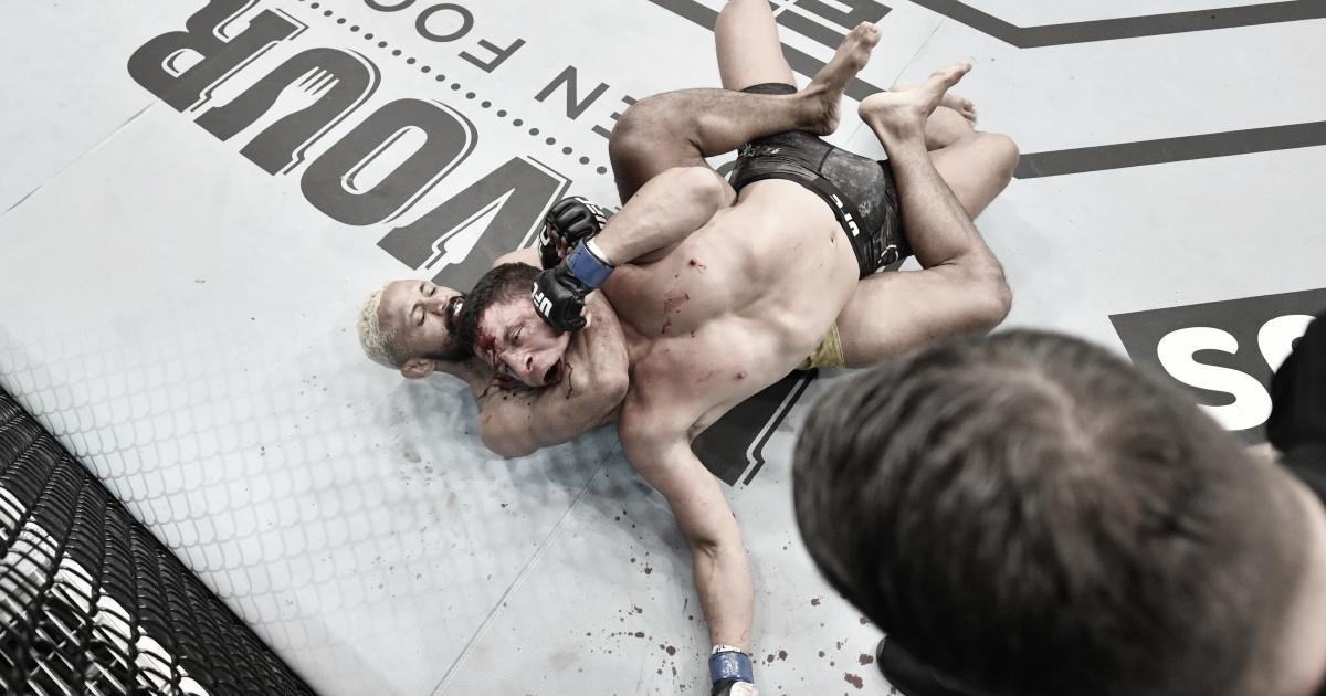 Figueiredo y el mata león a Benavídez para consagrarse nuevo campeón de las 125 libras (Foto: Jeff Bottari - Zuffa LLC - Getty Images)