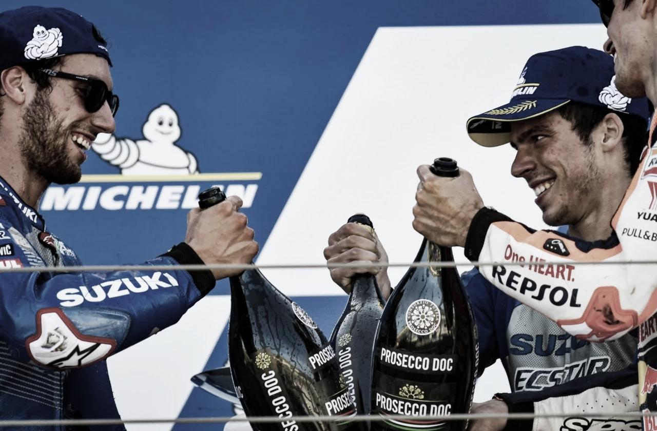 Álex Rins, Àlex Márquez y Joan Mir en el Gran Premio de Aragón / Foto: motogp.com